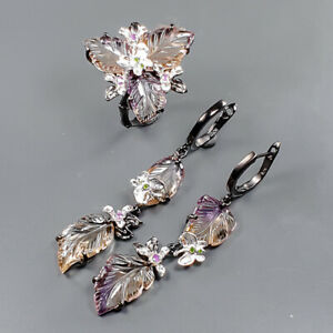 Jewelry Unique SET Ametrine Ring Silver 925 Sterling  Size 8.25 /R166822