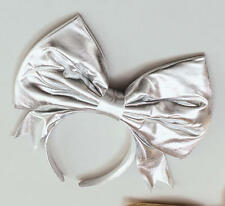 Large Silver Bow On Headband Alice In Wonderland Lady Gaga Fancy Dress