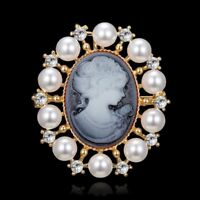 Fashion Crystal Pearl Cameo Beauty Head Bouquet Wedding Women Brooch Pin Jewelry