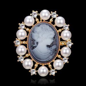 Fashion Crystal Pearl Cameo Beauty Head Bouquet Wedding Women Brooch Pin Jewelry