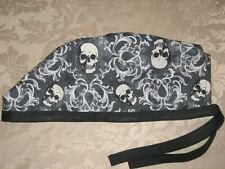 Surgical Scrub Hats/Cap Halloween Skulls with filigree and spiders