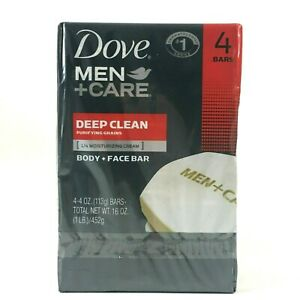 Dove Men Care Deep Clean Purifying Grains Moisturizing Body Face 4 Pack Bar 16oz