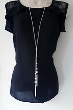 "Stunning 30"" long silver tone knotted lariat chain & tassel pendant necklace *"