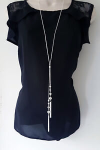 """Stunning 30"""" long silver tone knotted lariat chain & tassel pendant necklace *"""