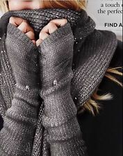 VICTORIA'S SECRET GRAY SPARKLY SEQUIN INFINITY SCARF FINGERLESS GLOVES SET $75