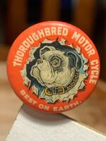 Early 1900's Reading Motorcycle Thoroughbred Celluloid Pinback Advertising Sign