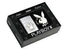 Accendino Zippo lighter briquet 24464 Playboy antivento benzina con portachiavi