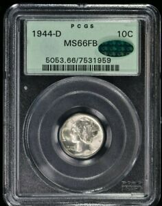 1944-D 10C Mercury Dime PCGS MS66FB OGH, CAC (1959) 99c NO RESERVE  Witter Coin