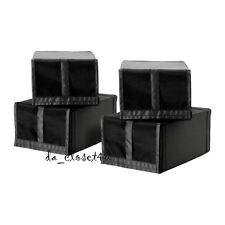 Ikea SKUBB Shoe box  4 pack storage box organizer folds when not in use, Black