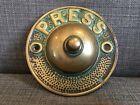 "Victorian cast brass ""Press"" door bell or servants bell push"