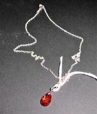Sterling Silver 925 Orange/Red Austrian Crystal Pendant Necklace (126)