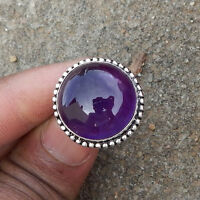 Purple Amethyst Cabochon Gemstone 925 Sterling Silver Birthday Gift Ring Size 8