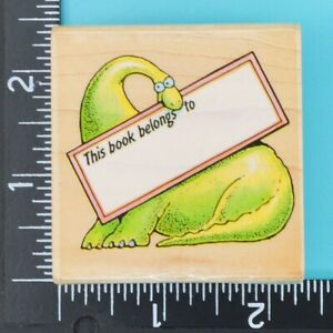 This Book Belongs To Bronto Bookplate 682F Dinosaur All Night Media Rubber Stamp