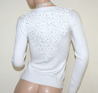 PULL BLANC femme cardigan maillot à manches longues brodées pullover strass A21
