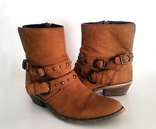 Steven by Steve Madden Brown Leather Womens Ankle Boots With Double Buckle Sz 10