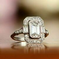 Art Deco Antique 1.60 Ct Emerald Diamond Engagement Ring 14K White Gold Finish