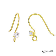2 pairs Gold Plated Sterling Silver CZ French Hook Ear Wire Earrings #99482