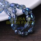 New 30pcs 12X8mm Faceted Teardrop Crystal Glass Spacer Loose Beads Grayish Blue