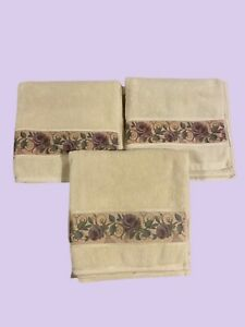 Croscill Chambord Cassis Amethyst Purple Rose 3 Bath Towels EUC