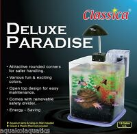 DELUXE PARADISE ACRYLIC NANO CUBE AQUARIUM FISH TANK 6.4L WITH FILTER & LIGHT