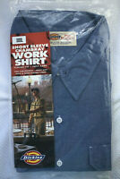Dickies Mens Chambray Work Shirt Short Sleeve Classic Fit Two Flap Pockets NEW