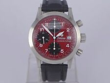 German Tutima FX auto date RED dial SS chrono watch Limited 80 pcs in box