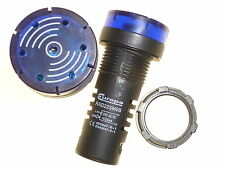 2 x 24V blue LED 22mm panel lamp pilot light with Sounder buzzer 30,000hr Europa