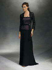 Mother of the Bride Black Chiffon Lace Long Dress w/ Bolero Jacket sz 10 NWT New