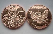 The Kraken 1 oz .999 Copper BU Round USA Made Proof-Like American Bullion Coin