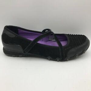 Skechers Womens Bikers Mary Jane Shoes Black Memory Foam Hook Loop Leather 9.5