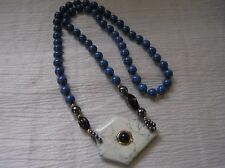 Estate Long Blue Sodalite & Hematite Beads Necklace w Dyed Center Stone & Onyx
