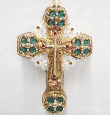 Kurt Adler Polanaise Blown Glass Baptist Cross Ornament Green & Copper Ap1775