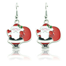 Multicolor Enamel Santa Claus Father Christmas Drop Dangle Earrings Xmas Gift UK