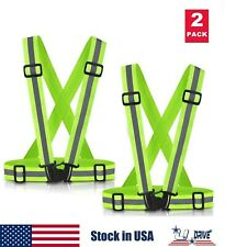 2Pc High Visibility Adjustable Safety Security Reflective Vest Gear Green Jacket