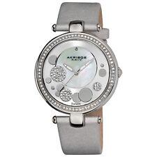 New Women's Akribos XXIV AK434SL MOP Diamond Dial Silver Leather Strap Watch