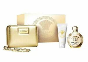 Versace Eros Pour Femme Set 100ml Edp + 100ml Body Lotion + Golden Clutch Bag