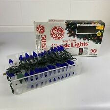 Vintage Christmas GE String-A-Long Classic Lights 50 Outdoor Blue Color All Work