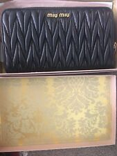 NWT MIU MIU  Matelasse Black lamb Leather Gold Tone Continental Long Wallet