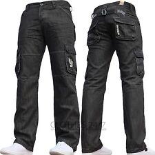 Hombre Enzo Diseñador Oscuro Cargo Militar Vaqueros Denim Todas Las Cinturas &
