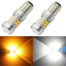 2x 1157 BAY15D Dual Color 28-SMD White Yellow LED Switchback Turn Signal Lights