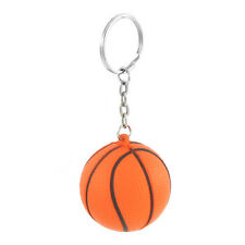Orange Black Basketball Shape Sport Stress Ball Link Chain Key Ring New