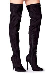 JustFab Camden Ladies UK 6 Black Velvet High Heel Stiletto Over Knee Thigh Boots