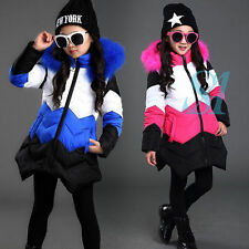 Warm Girl Kid Winter Down Medium Comfortable Coat Jacket Wool Hooded Overcoat UK