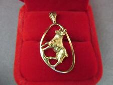 14k Solid Yellow Gold Zodiac Taurus The Bull Pendant Unique Handmade Design