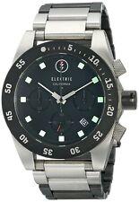 Electric Visual Watch DW01 SS Chronograph Black Silver Steel Bracelet NEW! 30615