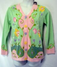 STORYBOOK KNITS SMALL SPRING GARDEN V-NECK CARDIGAN SWEATER LIMITED EDITION NEW