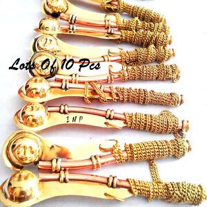 Lot Of 10pc Navy Ship Bosun's Pipe Copper/Brass Boatswain Whistle Chain Pendant
