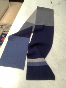 New MJ Bale 100% merino wool knitted scarf blue/grey thick