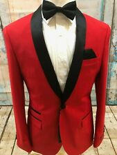 Mens prom wedding West End red TUXEDO Slim Fit Navy Blue single Button Suit