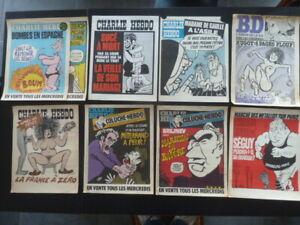 CHARLIE HEBDO / 9 affiches de kiosques anciennes / coluche , cabu , reiser ...